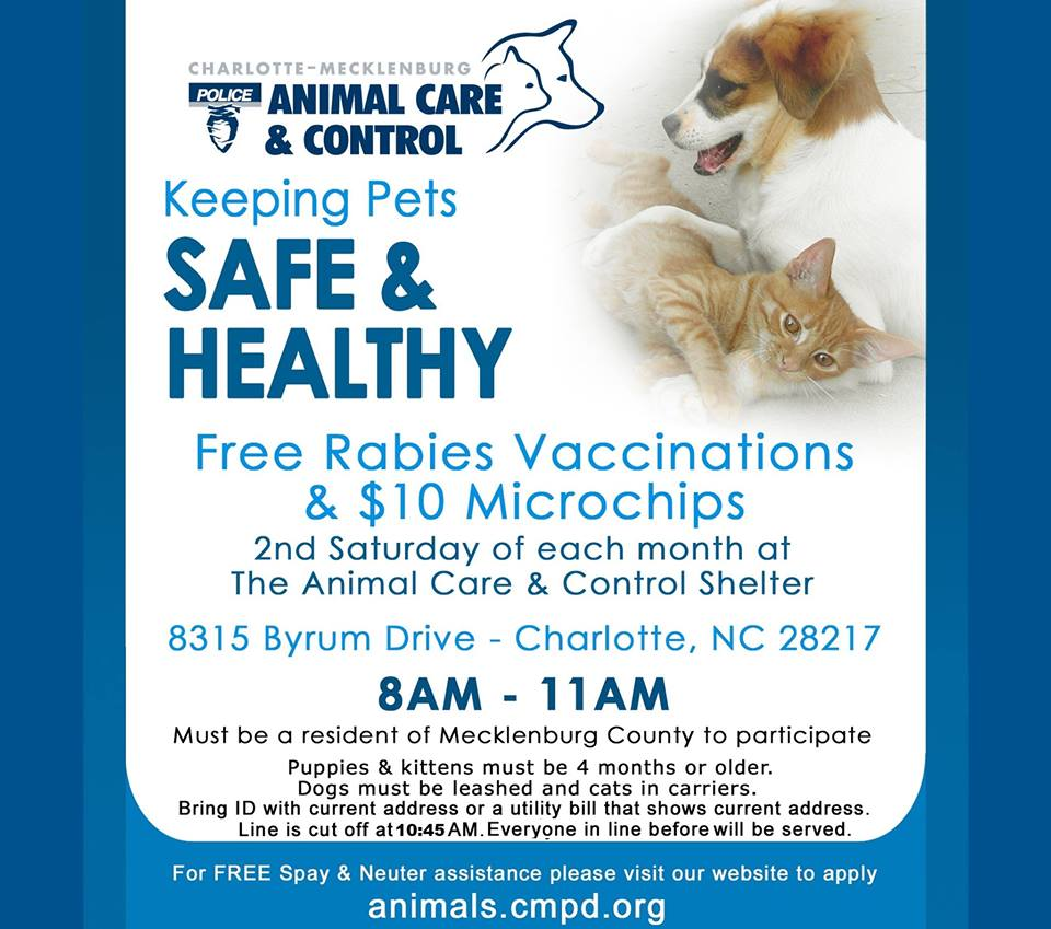 Free Rabies Vaccination Clinic at CMPD Animal Care and Control